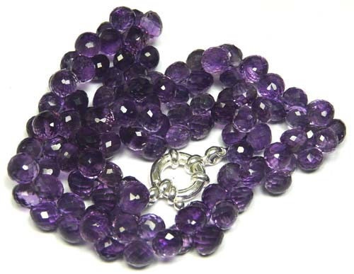 Design 7585: Purple amethyst briolettes, drop necklaces