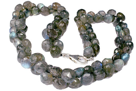 Design 7609: green labradorite briolettes, drop necklaces