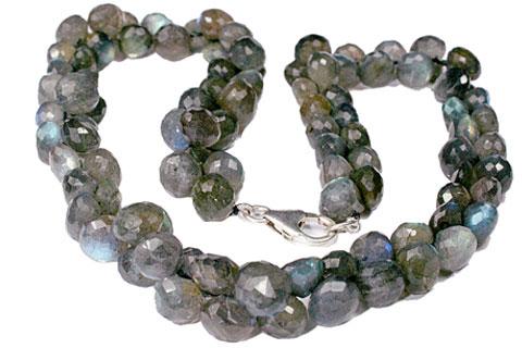 Design 7609: green labradorite briolettes, drop necklaces