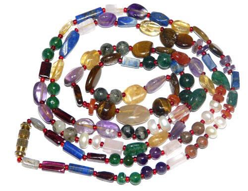 Design 7614: multi-color multi-stone tribal necklaces