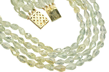 Design 7617: green prehnite drop necklaces