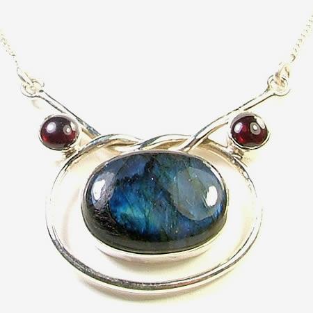 Design 762: blue,red labradorite pendant necklaces