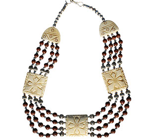 Design 77: brown,red bone choker necklaces