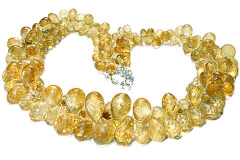 Design 7729: yellow citrine briolettes, drop necklaces