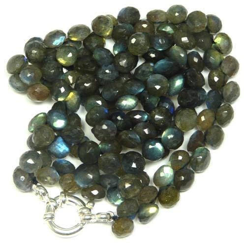 Design 7734: Green, Grey labradorite drop necklaces