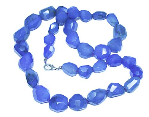 Design 7756: blue chalcedony tumbled necklaces