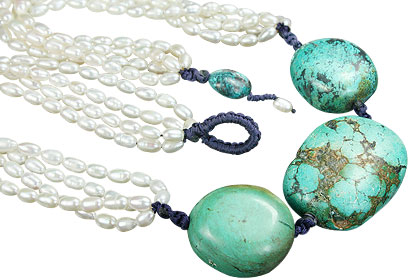 Design 7794: blue,white pearl booby necklaces