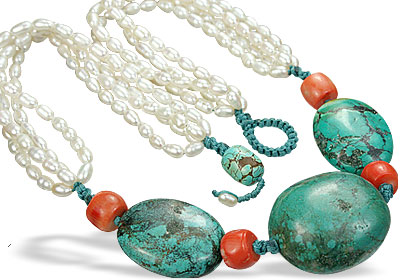 Design 7795: orange,white pearl booby necklaces