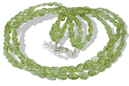 Design 7897: green peridot multistrand necklaces