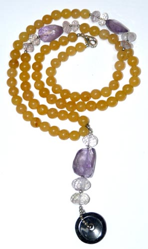 Design 7943: Yellow, Purple multi-stone donut necklaces