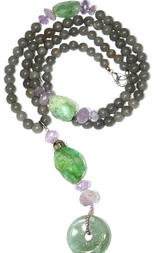 Design 7944: green multi-stone donut necklaces