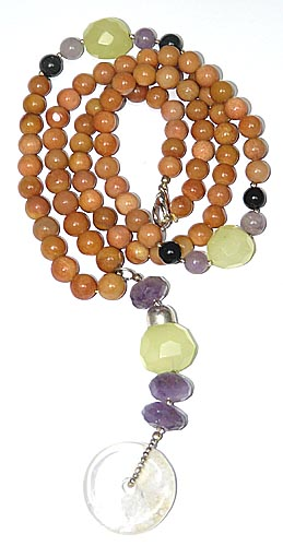Design 7947: multi-color jasper donut necklaces
