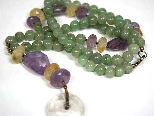 Design 7949: Green multi-stone donut necklaces
