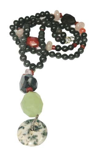 Design 7950: Black, Orange multi-stone donut, ethnic necklaces