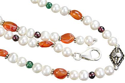 Design 7974: green,orange,white multi-stone necklaces