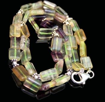 Design 7977: Green fluorite necklaces