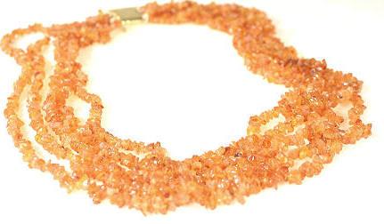 Design 7980: orange,white carnelian simple-strand necklaces