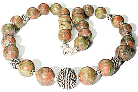 Design 7986: brown,green unakite necklaces