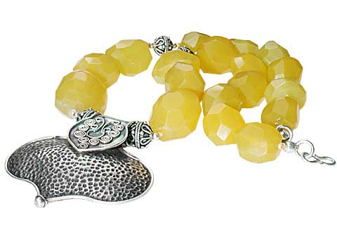 Design 7991: yellow chalcedony chunky, ethnic, heart, medallion necklaces