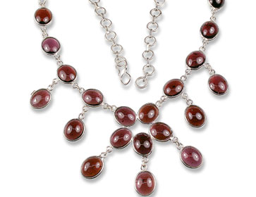 Design 8099: red garnet wedding necklaces