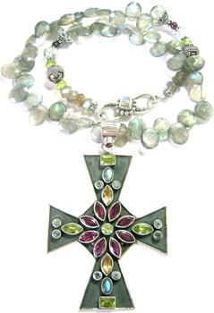 Design 8134: multi-color multi-stone crosses necklaces