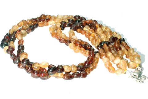 Design 8392: brown,yellow hessonite multistrand necklaces