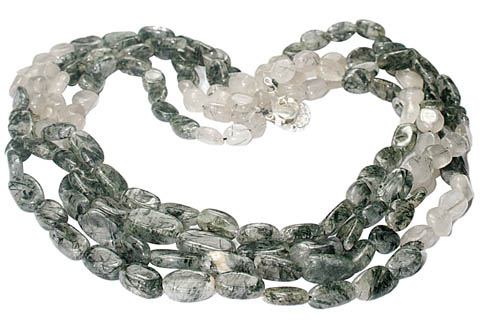 Design 8393: white rotile multistrand necklaces