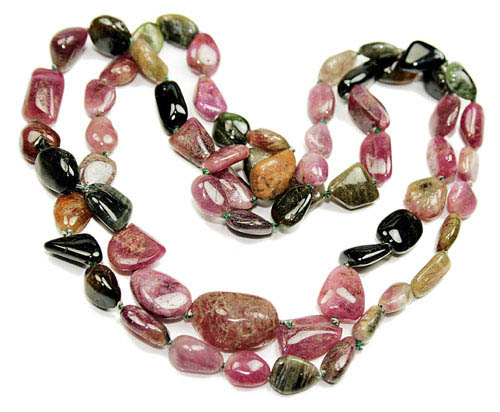 Design 8414: brown,green,pink tourmaline necklaces