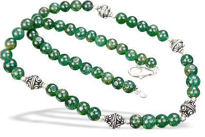 Design 8470: green aventurine simple-strand necklaces