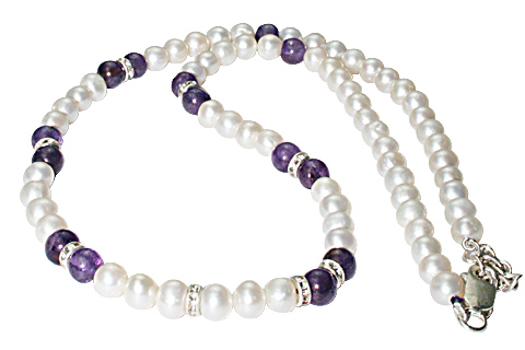 Design 8472: White, Purple pearl necklaces