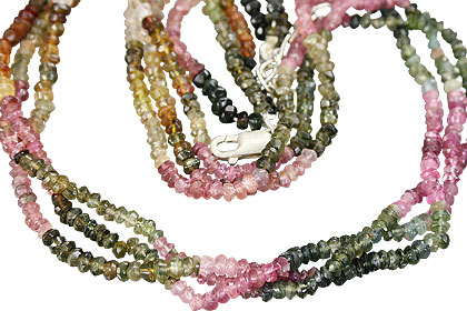 Design 8540: green,pink tourmaline multistrand necklaces