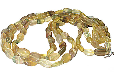 Design 8841: green,yellow fluorite multistrand necklaces
