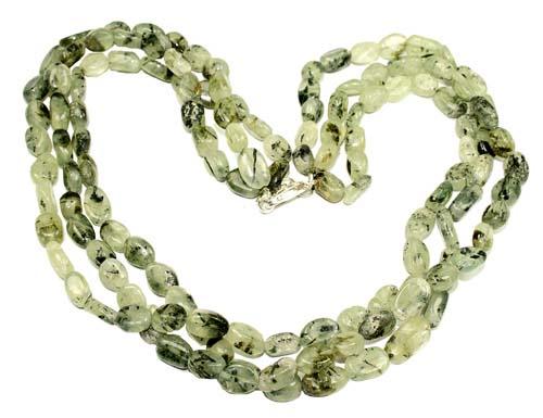 Design 8843: green,multi-color prehnite multistrand necklaces