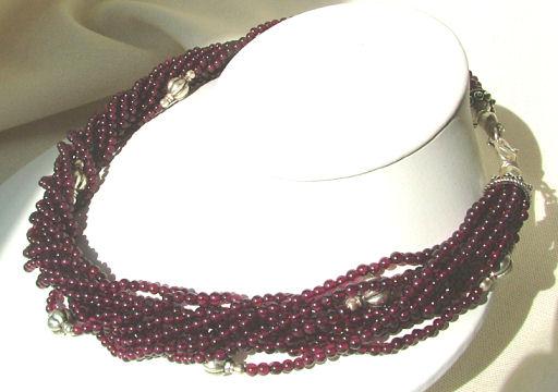 Design 887: red garnet multistrand necklaces