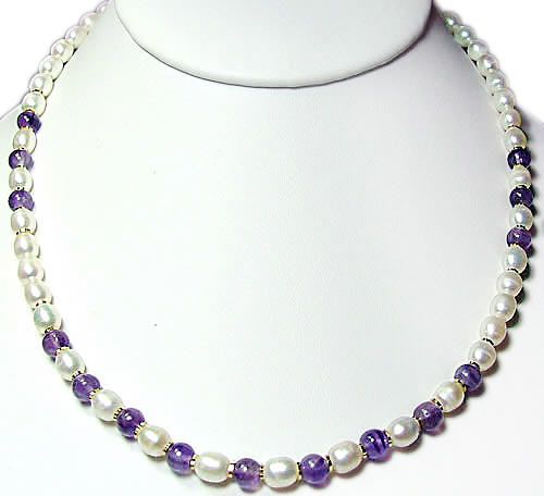 Design 889: purple,white pearl simple-strand necklaces