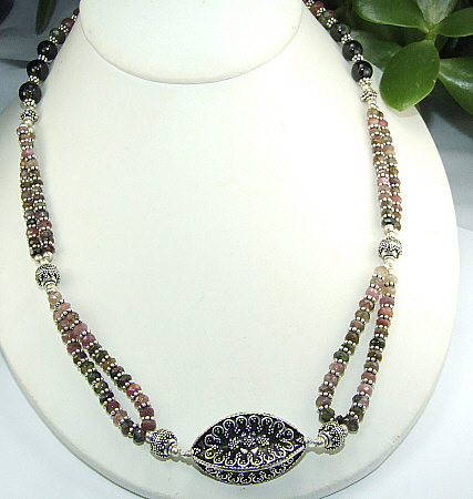 Design 8914: multi-color tourmaline ethnic, multistrand necklaces