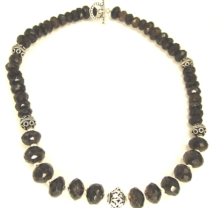 Design 8945: brown smoky quartz necklaces