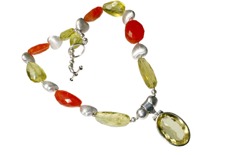 Design 9014: orange,yellow carnelian contemporary, heart, pendant necklaces