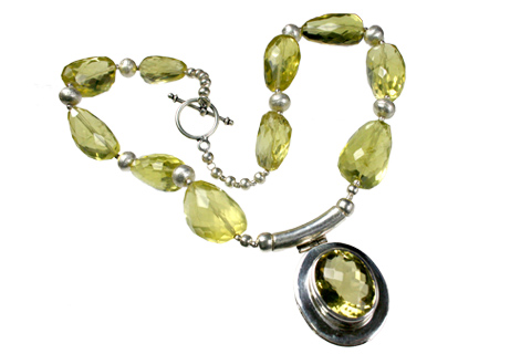 Design 9020: yellow lemon quartz pendant necklaces