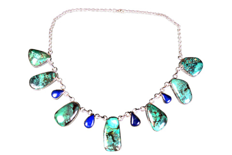 Design 9021: Blue turquoise necklaces