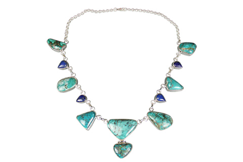 Design 9024: blue,green turquoise choker, chunky, contemporary necklaces