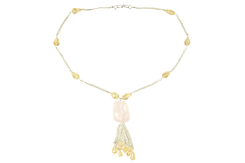 Design 9032: Yellow, Pink lemon quartz necklaces