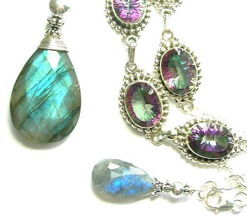 Design 9059: blue, multi mystic quartz necklaces