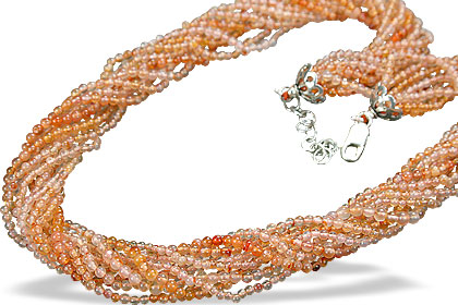Design 9072: orange carnelian contemporary, engagement, multistrand necklaces