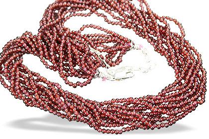 Design 9084: red garnet multistrand necklaces