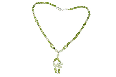 Design 9093: green prehnite contemporary necklaces
