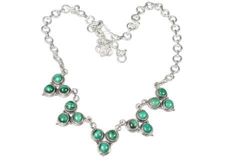 Design 9129: green malachite necklaces