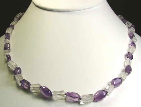 Design 915: purple,white crystal necklaces