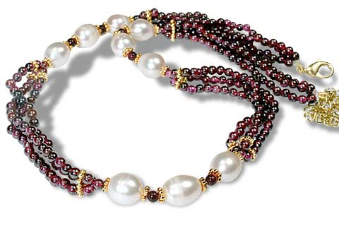 Design 920: red,white pearl multistrand necklaces