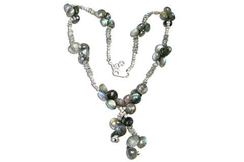 Design 9203: blue labradorite contemporary, drop necklaces